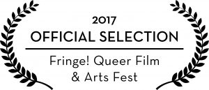 Black laurel leaves on a white background encircle the words Official Selection Fringe! Queer Film & Arts Fest